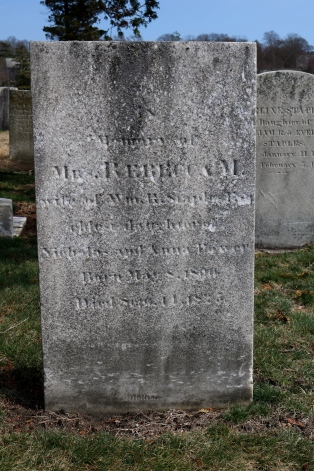 Grave of Helen's oldest sister, Rebecca Power Staples. Located in the North Burial Ground.