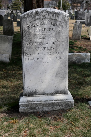 Grave of Rebecca Power Staples' husband. Located in the North Burial Ground.